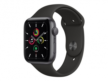 Apple Watch SE 44mm Spacegrau, Sportband Schwarz