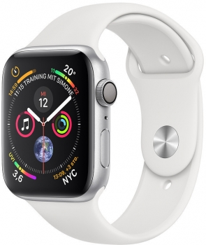 Apple Watch Series 4 40mm Silber, Sportband Weiss